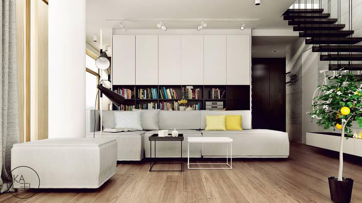 KOLEJOWA: styl , w kategorii Salon zaprojektowany przez KAEL Architekci,Nowoczesny Płyta MDF