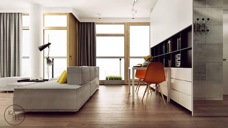 KOLEJOWA: styl , w kategorii Jadalnia zaprojektowany przez KAEL Architekci,Nowoczesny Drewno O efekcie drewna