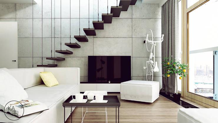 KOLEJOWA: styl , w kategorii Salon zaprojektowany przez KAEL Architekci,Nowoczesny Beton