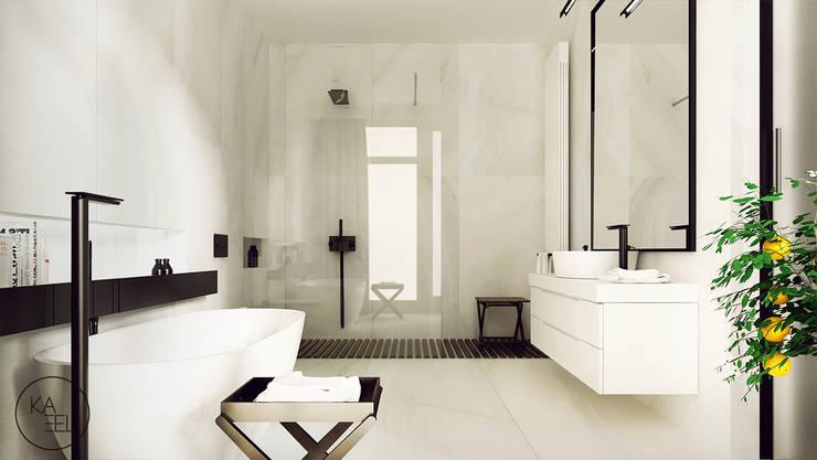 KOLEJOWA: styl , w kategorii Łazienka zaprojektowany przez KAEL Architekci,Nowoczesny Ceramiczny