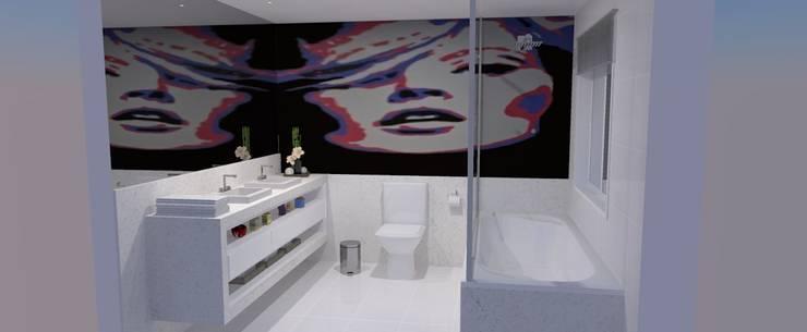 Banho casal: Banheiros  por Studio 15 Arquitetura