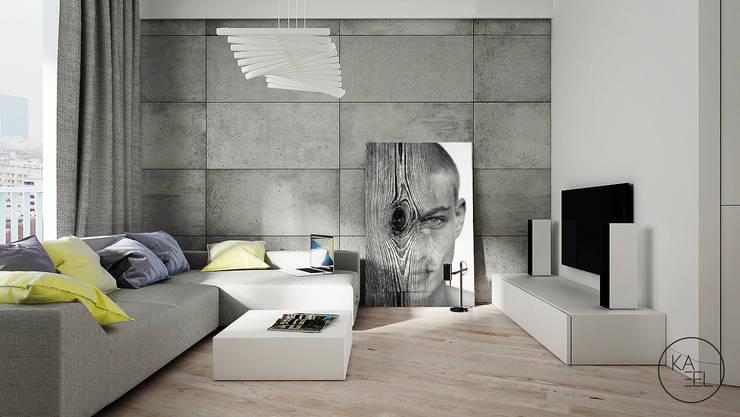OGRODOWA: styl , w kategorii Salon zaprojektowany przez KAEL Architekci