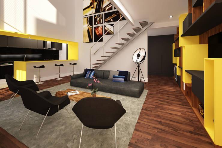 Residência Ventura Ladalardo: Salas de estar  por Ana Carolina Cardoso Arquitetura e Design,