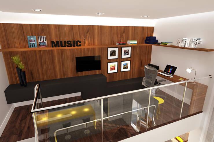 Residência Ventura Ladalardo: Salas multimídia  por Ana Carolina Cardoso Arquitetura e Design,