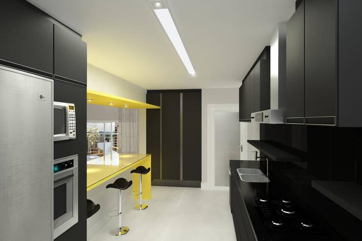 Residência Ventura Ladalardo: Cozinhas  por Ana Carolina Cardoso Arquitetura e Design,