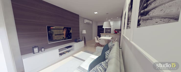 Estar social: Sala de estar  por Studio 15 Arquitetura,
