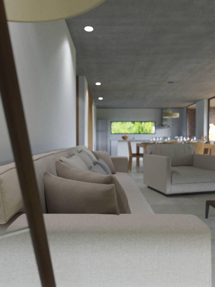 Ruang Keluarga oleh D+D Studio, Modern