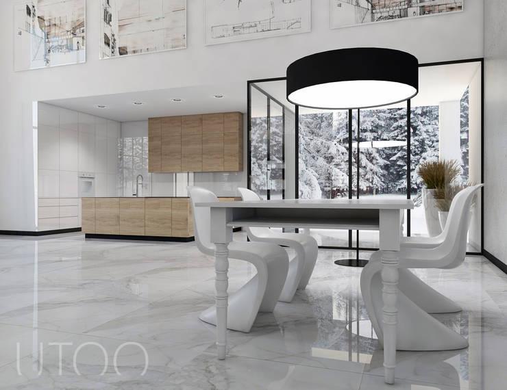 SCHODY NA PIERWSZYM PLANIE: styl , w kategorii Kuchnia zaprojektowany przez UTOO-Pracownia Architektury Wnętrz i Krajobrazu,Nowoczesny