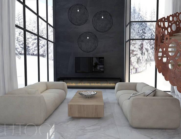 SCHODY NA PIERWSZYM PLANIE: styl , w kategorii Salon zaprojektowany przez UTOO-Pracownia Architektury Wnętrz i Krajobrazu,Nowoczesny