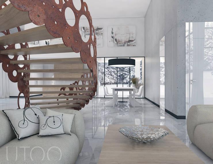 SCHODY NA PIERWSZYM PLANIE: styl , w kategorii Jadalnia zaprojektowany przez UTOO-Pracownia Architektury Wnętrz i Krajobrazu,Nowoczesny