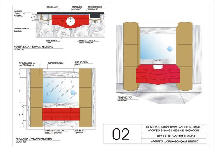 Mobiliário Casa de Banho - Concurso: Casas de banho  por Luciana Ribeiro Arquiteta