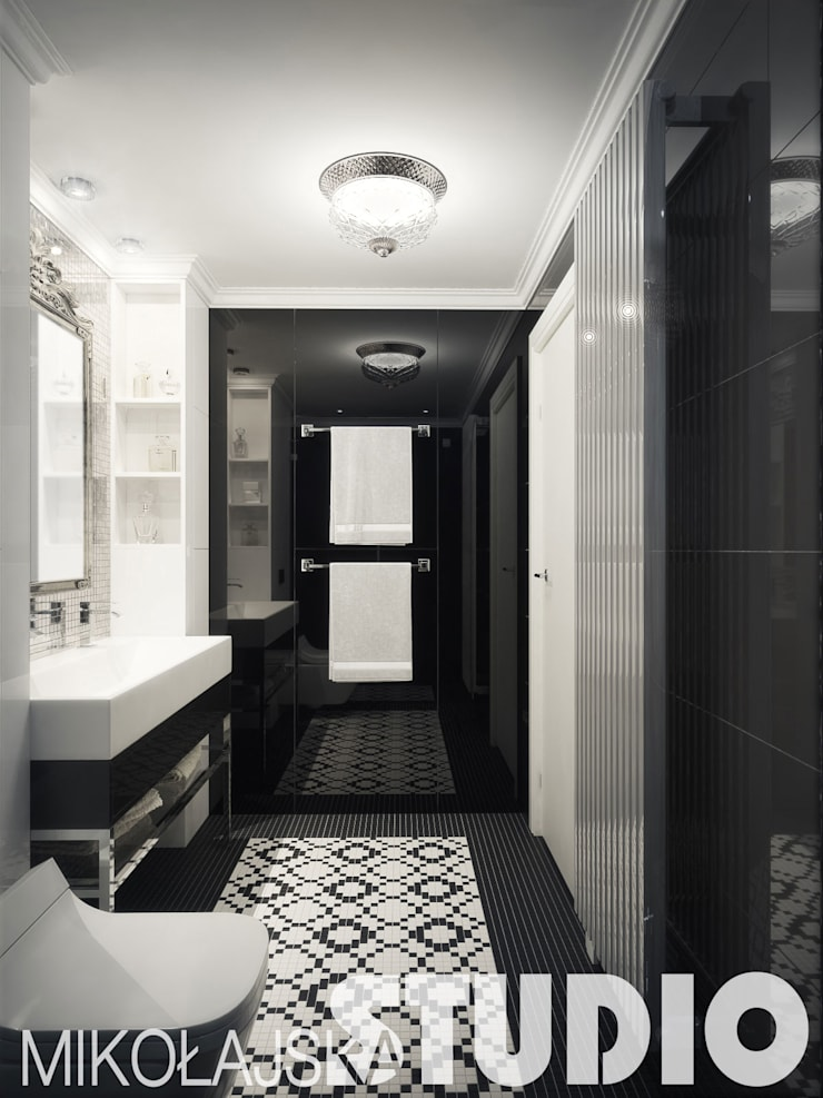 łazienka w stylu glamour: styl , w kategorii  zaprojektowany przez MIKOŁAJSKAstudio