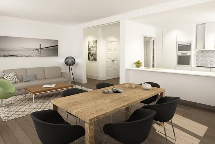 T3 Lisbon Luxury Apartment: Salas de jantar modernas por EU LISBOA