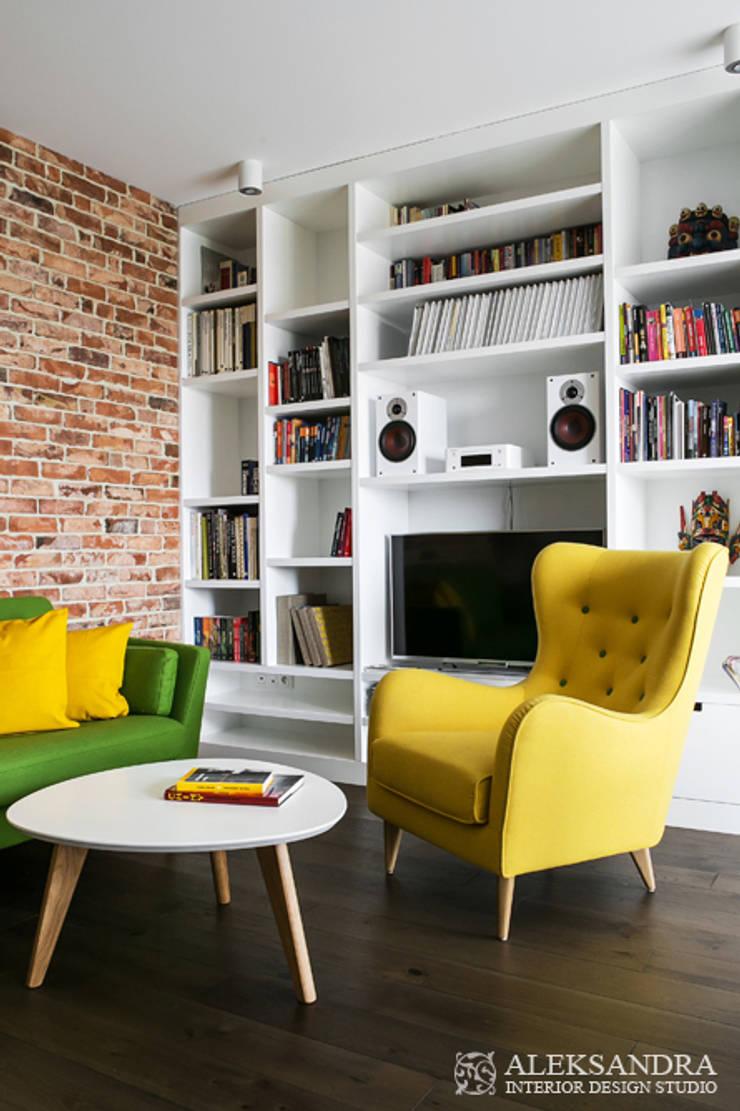 salon: styl , w kategorii Salon zaprojektowany przez ALEKSANDRA interior design studio