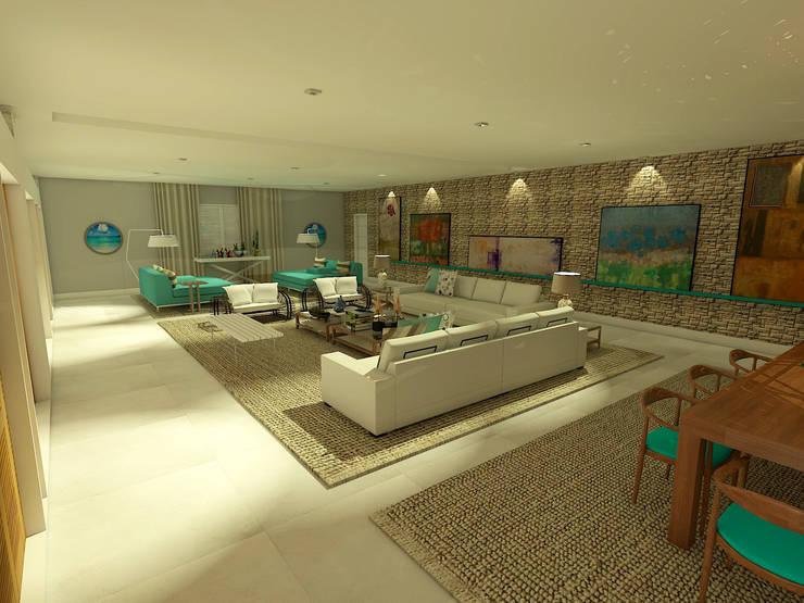Living da Casa de Praia: Salas de estar  por Rangel & Bonicelli Design de Interiores Bioenergético,