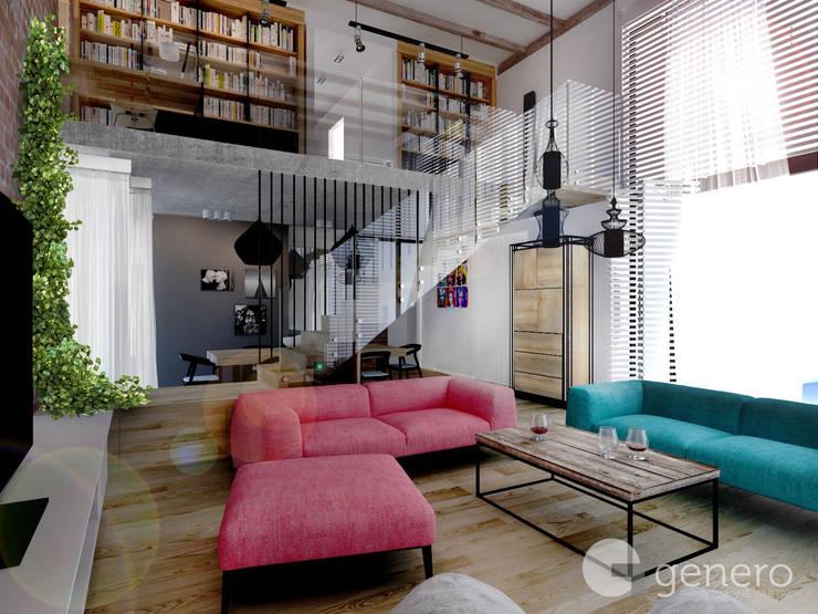 Dom z Antresolą: styl , w kategorii Salon zaprojektowany przez GENERO,Industrialny