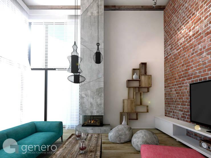 Dom z Antresolą: styl , w kategorii Salon zaprojektowany przez GENERO,Nowoczesny