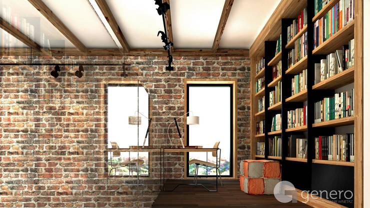 Dom z Antresolą: styl , w kategorii Domowe biuro i gabinet zaprojektowany przez GENERO,Nowoczesny