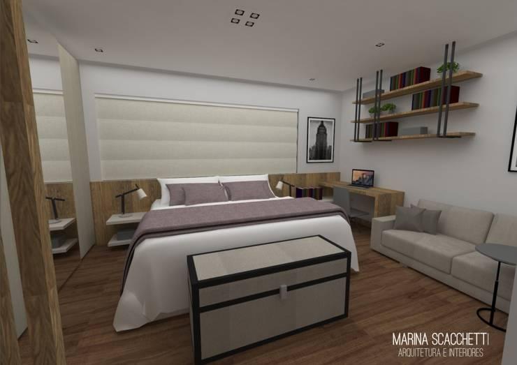 Perspectiva do flat com vista para o dormitório: Quartos  por Marina Scacchetti Arquitetura e Interiores,