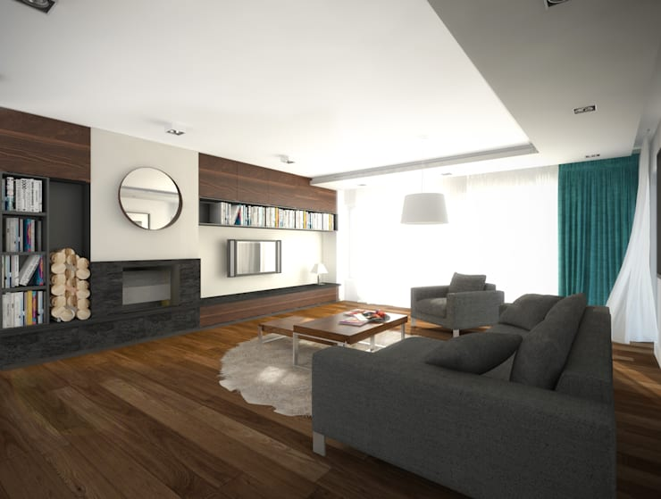 Dom jednorodzinny, Poznań: styl , w kategorii Salon zaprojektowany przez GENERO,Nowoczesny