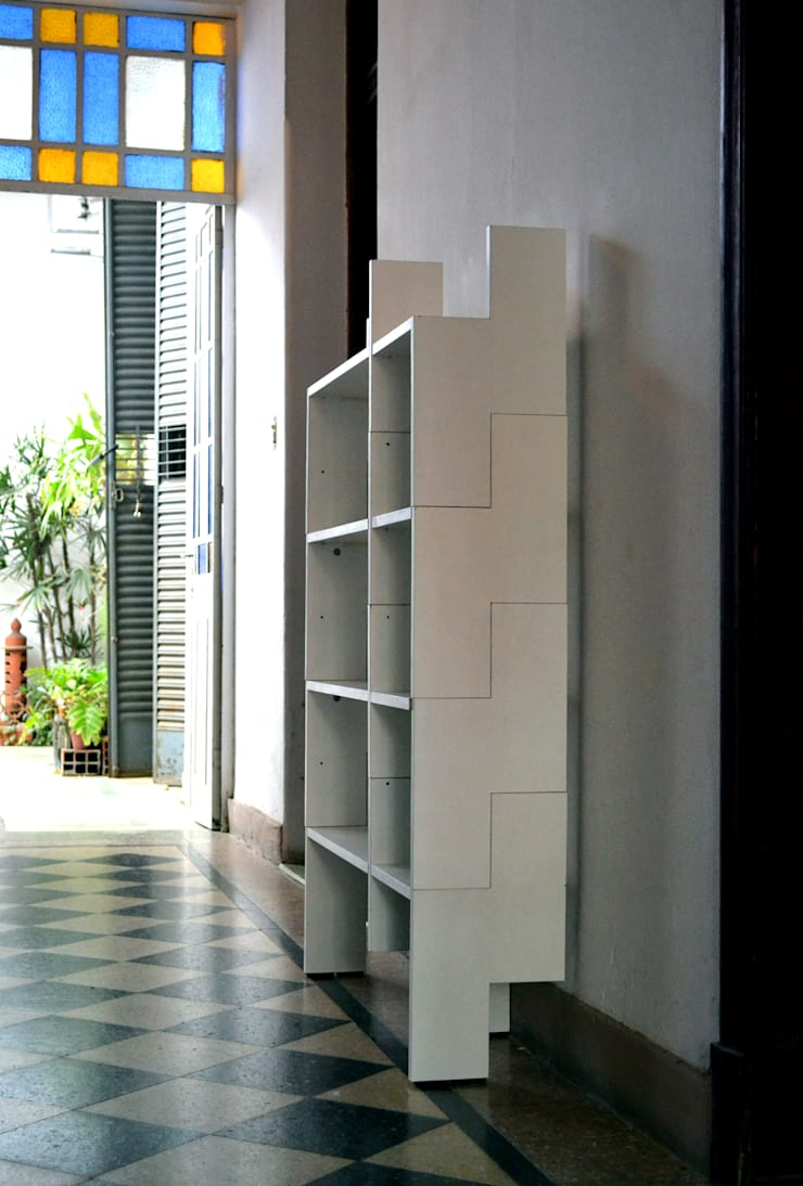 Biblioteca Modular: Oficinas y locales comerciales de estilo  por MueblesElemental
