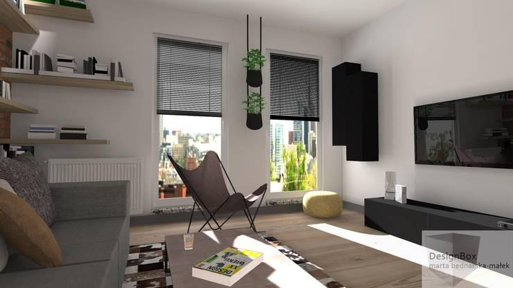Mieszkanie z industrialnym akcentem: styl , w kategorii Salon zaprojektowany przez Designbox Marta Bednarska-Małek