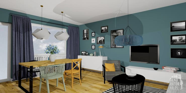 POZNAŃ | Mieszkanie w bloku | Koncepcja: styl , w kategorii Salon zaprojektowany przez dekoratorka.pl