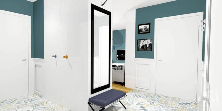 POZNAŃ | Mieszkanie w bloku | Koncepcja: styl , w kategorii Korytarz, przedpokój zaprojektowany przez dekoratorka.pl