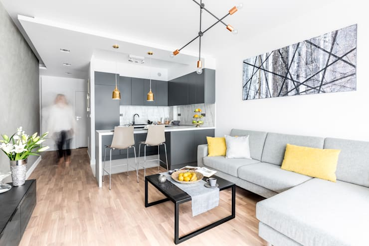 Fotografia wnętrz: mieszkanie pokazowe Intenso Wola;  Projekt: Decoorom: styl , w kategorii Salon zaprojektowany przez Pion Poziom - fotografia wnętrz,Eklektyczny