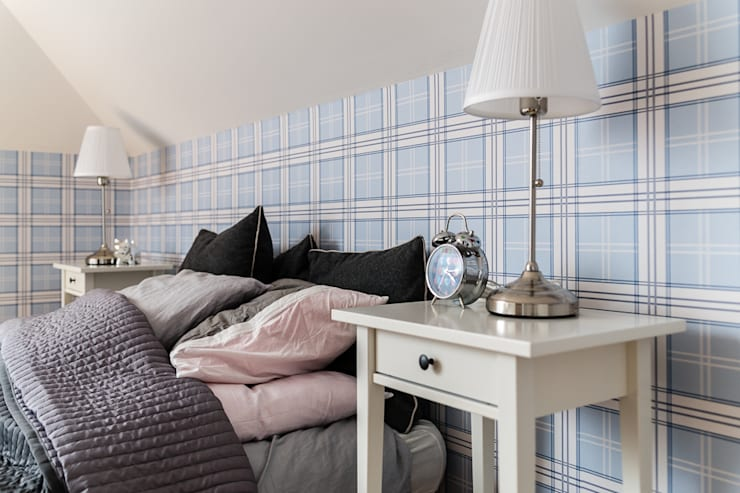 apartament z motywem Nowego Jorku: styl , w kategorii Sypialnia zaprojektowany przez Gzowska&Ossowska Pracownie Architektury Wnętrz,