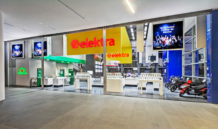 Showroom Elektra (Sucursal Arena Ciudad de México): Estudios y oficinas de estilo  por usoarquitectura