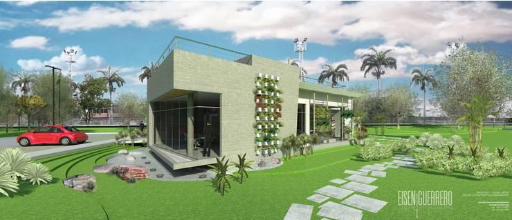 Vista Lateral Frontal Sur externa, Sala de inspiración. Oficina Experience Center. 2015: Casas de estilo  por Eisen Arquitecto