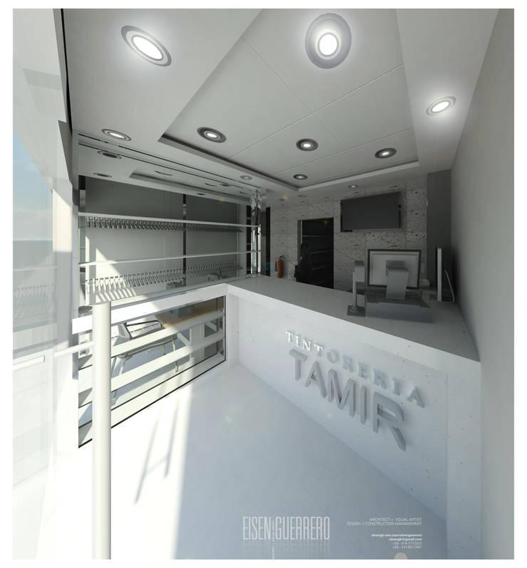 Vista3D- Vitrina, caja y Atención- Tintoteria Tamir: Espacios comerciales de estilo  por Eisen Arquitecto