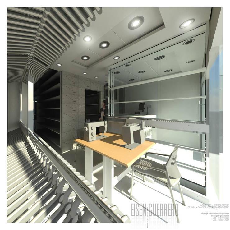 Vista3D- Costura,Vitrina, caja- Tintoteria Tamir: Espacios comerciales de estilo  por Eisen Arquitecto