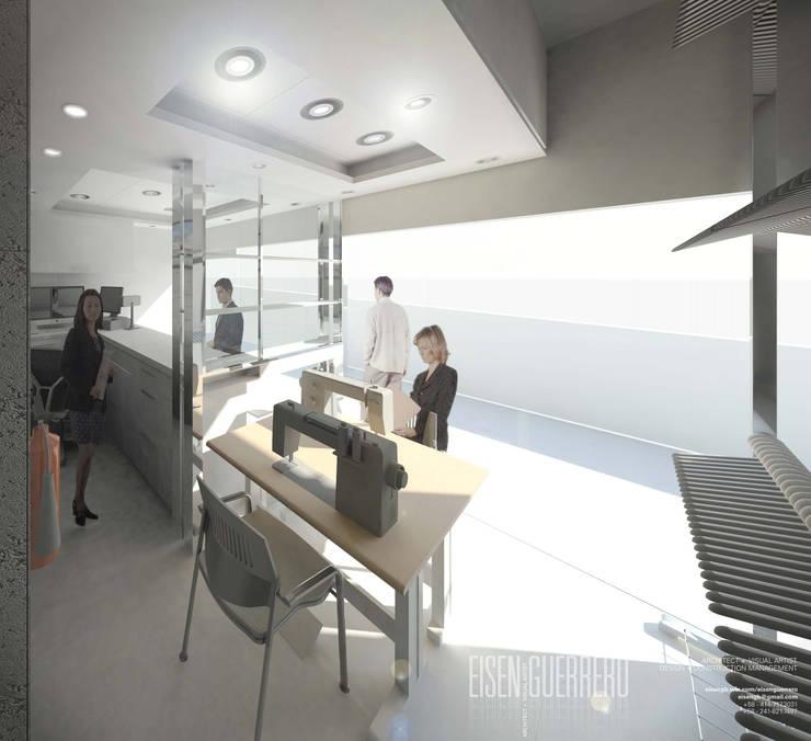 Vista3D- Vitrina, costura y caja- Tintoteria Tamir: Espacios comerciales de estilo  por Eisen Arquitecto