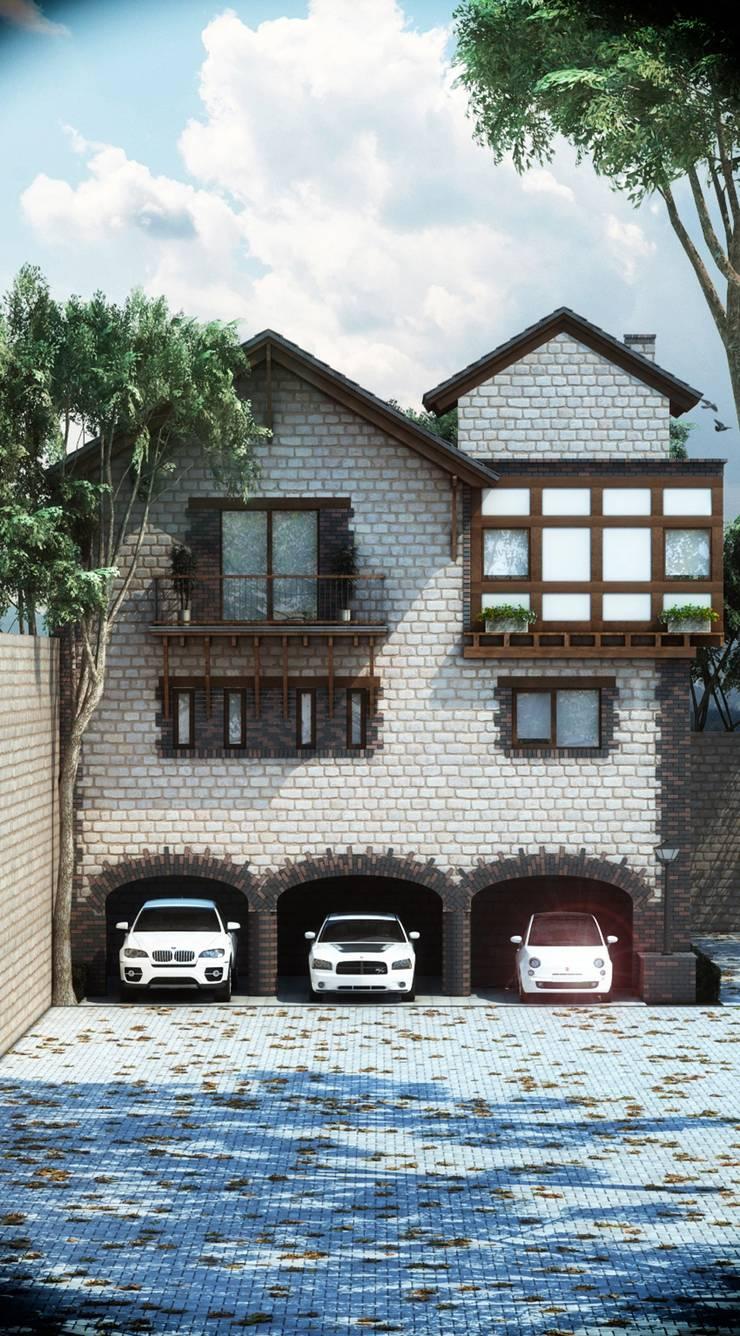 Render fachada residencia.:  de estilo  por argueta+f9 arquitectura