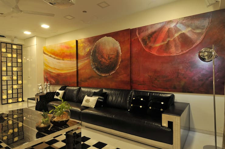 Site at Vile Parle :  Living room by Mybeautifulife,Modern