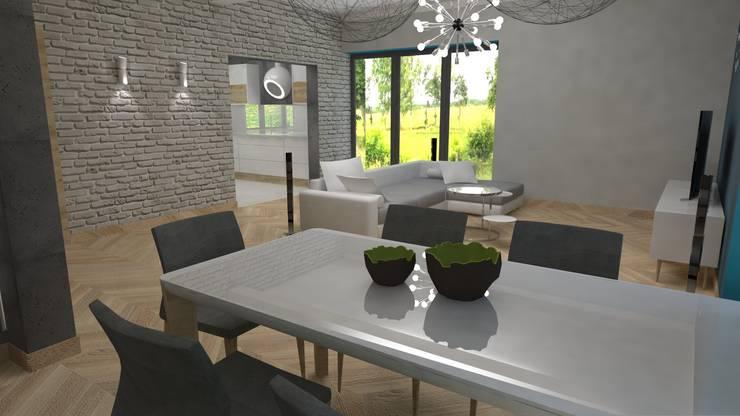 Salon z jadalnią: styl , w kategorii  zaprojektowany przez archJudyta Aranżacja Wnętrz