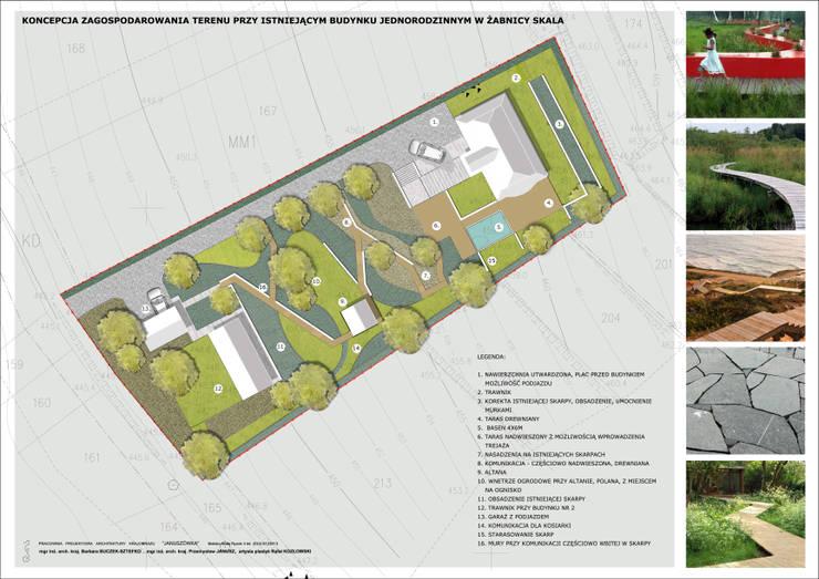 Ogród tarasowy: styl , w kategorii  zaprojektowany przez Pracownia Projektowa Architektury Krajobrazu Januszówka