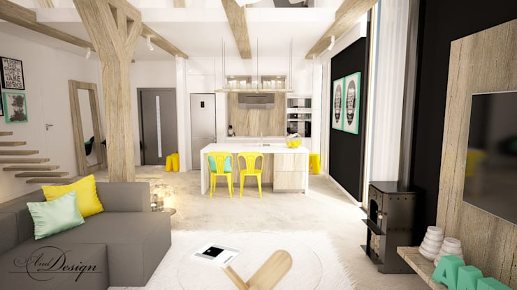 Projekt Salonu Polaczonego Z Kuchnia Von And Interior Design Homify