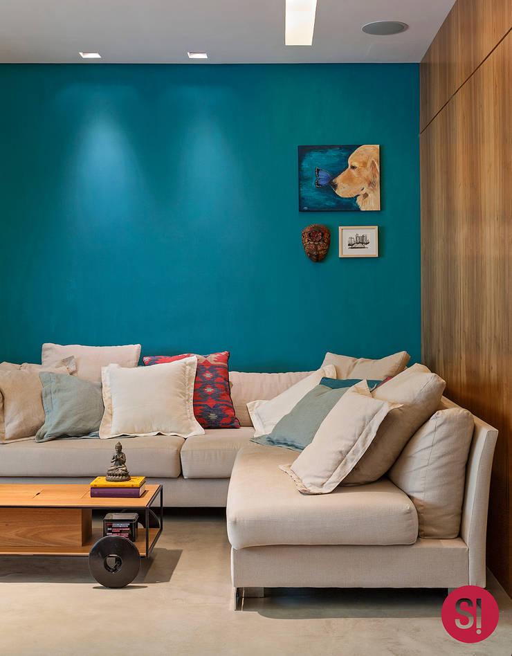 Apartamento CM: Salas de estar  por Botti Arquitetura e Interiores-Natália Botelho,