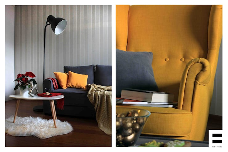 Salon Warszawa: styl , w kategorii Salon zaprojektowany przez WZ STUDIO