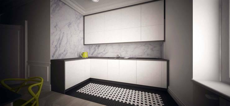 Zółty Apartament: styl , w kategorii Kuchnia zaprojektowany przez WZ STUDIO,Nowoczesny Drewno O efekcie drewna