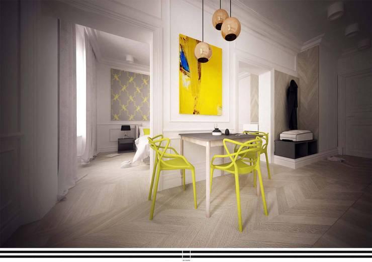 Zółty Apartament: styl , w kategorii Jadalnia zaprojektowany przez WZ STUDIO,Nowoczesny Drewno O efekcie drewna