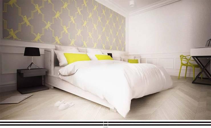 Zółty Apartament: styl , w kategorii Sypialnia zaprojektowany przez WZ STUDIO,Nowoczesny Drewno O efekcie drewna