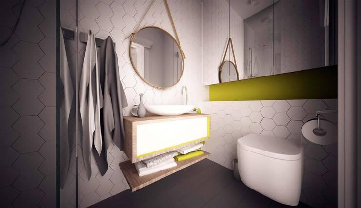 Zółty Apartament: styl , w kategorii Łazienka zaprojektowany przez WZ STUDIO,Nowoczesny Kamień