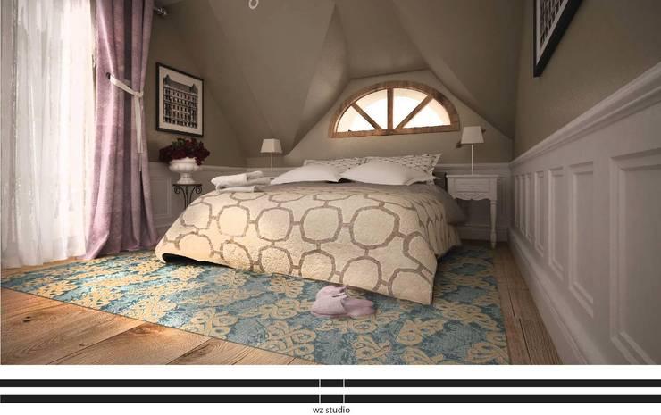 Dom pod Warszawą: styl , w kategorii Sypialnia zaprojektowany przez WZ STUDIO