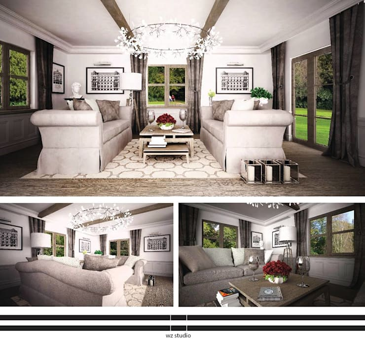 Dom pod Warszawą: styl , w kategorii Salon zaprojektowany przez WZ STUDIO