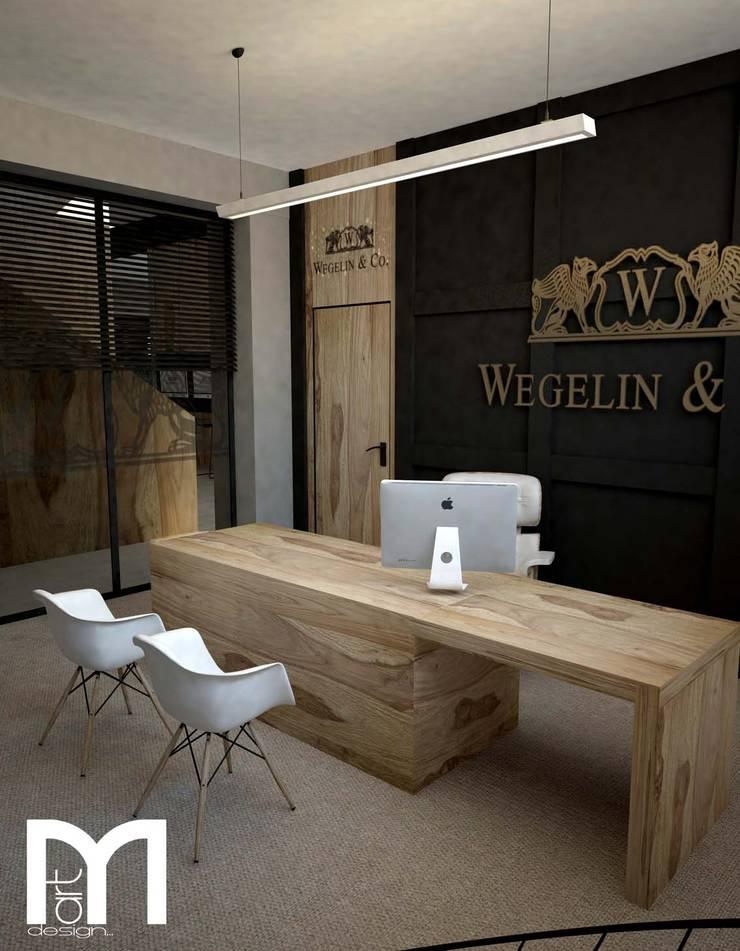 Gabinet dyrektora: styl , w kategorii Przestrzenie biurowe i magazynowe zaprojektowany przez MART-DESIGN