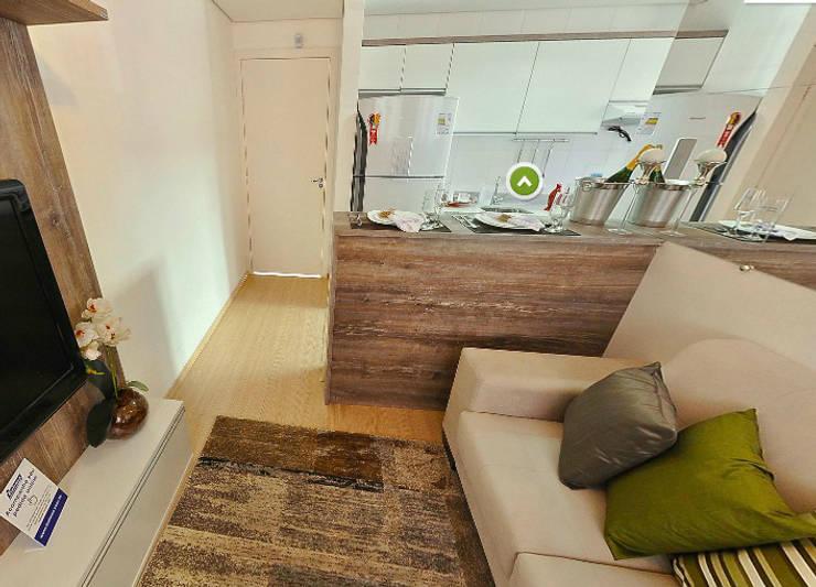 Apartamento decorado porto polaris: Sala de estar  por Débora Campos Arquiteta,